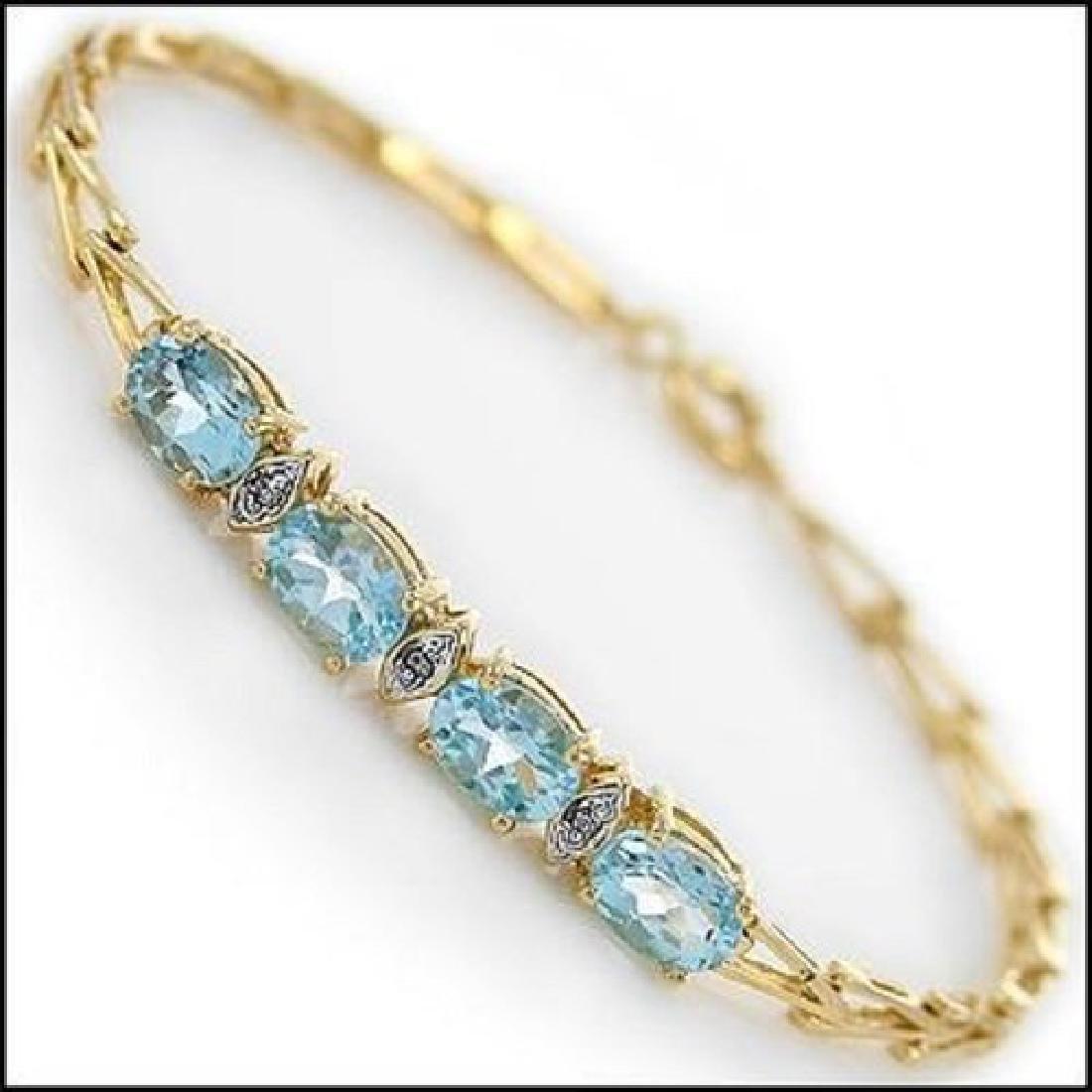 4.29 Ct Blue Topaz Diamond Fine Designer Bracelet $990