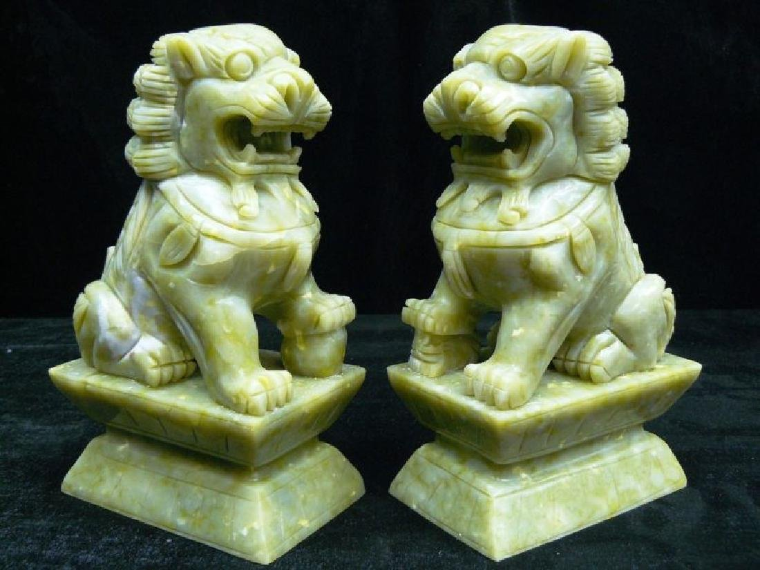 "PAIR OF 8"" JADE FOODOGS/FUDOG/LIONS"