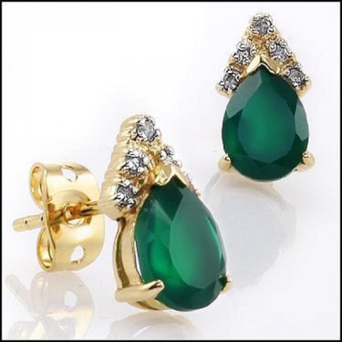 3.34 CTW Green Agate & Diamond Designer Earrings