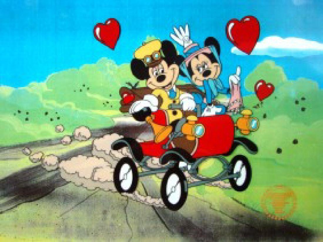 DISNEY MICKEY & MINNIE Nifty 90's Orig Art Sericel
