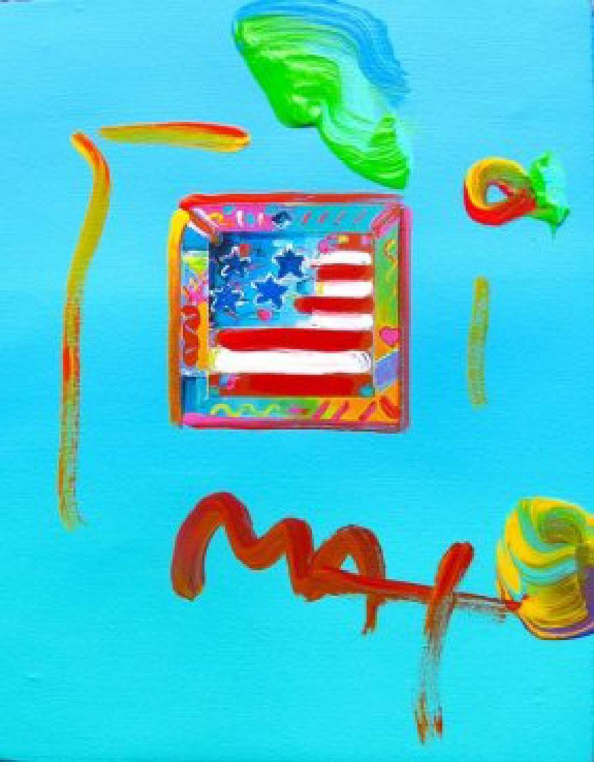 Max FLAG WITH HEARTS Hand Signed Original Mixed Media