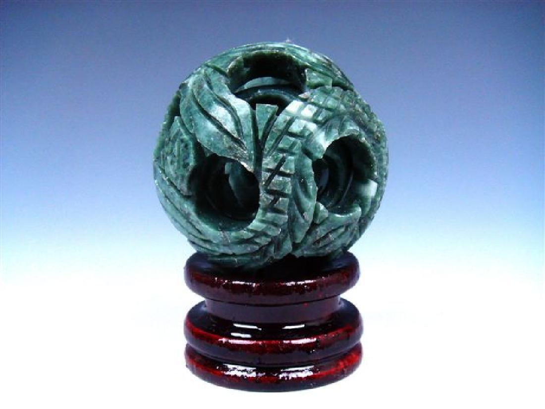 Hand Carved Jade 3 Layers Dragon Ball w/ Stand