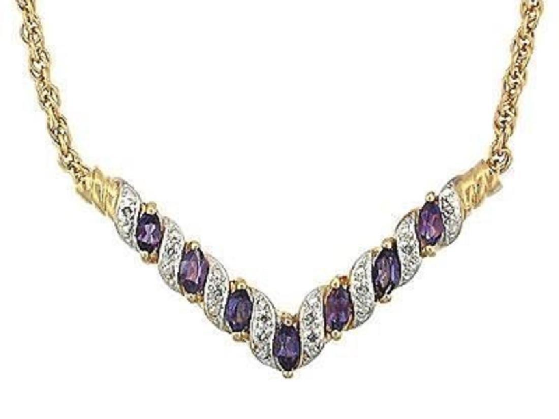 7.19 CT Amethyst & Diamond Designer Fine Necklace