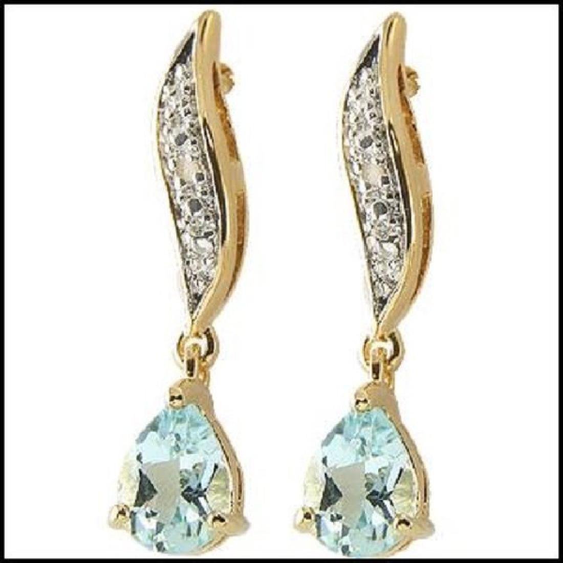 2.82 CT Blue Topaz & Diamond Designer Earrings $785