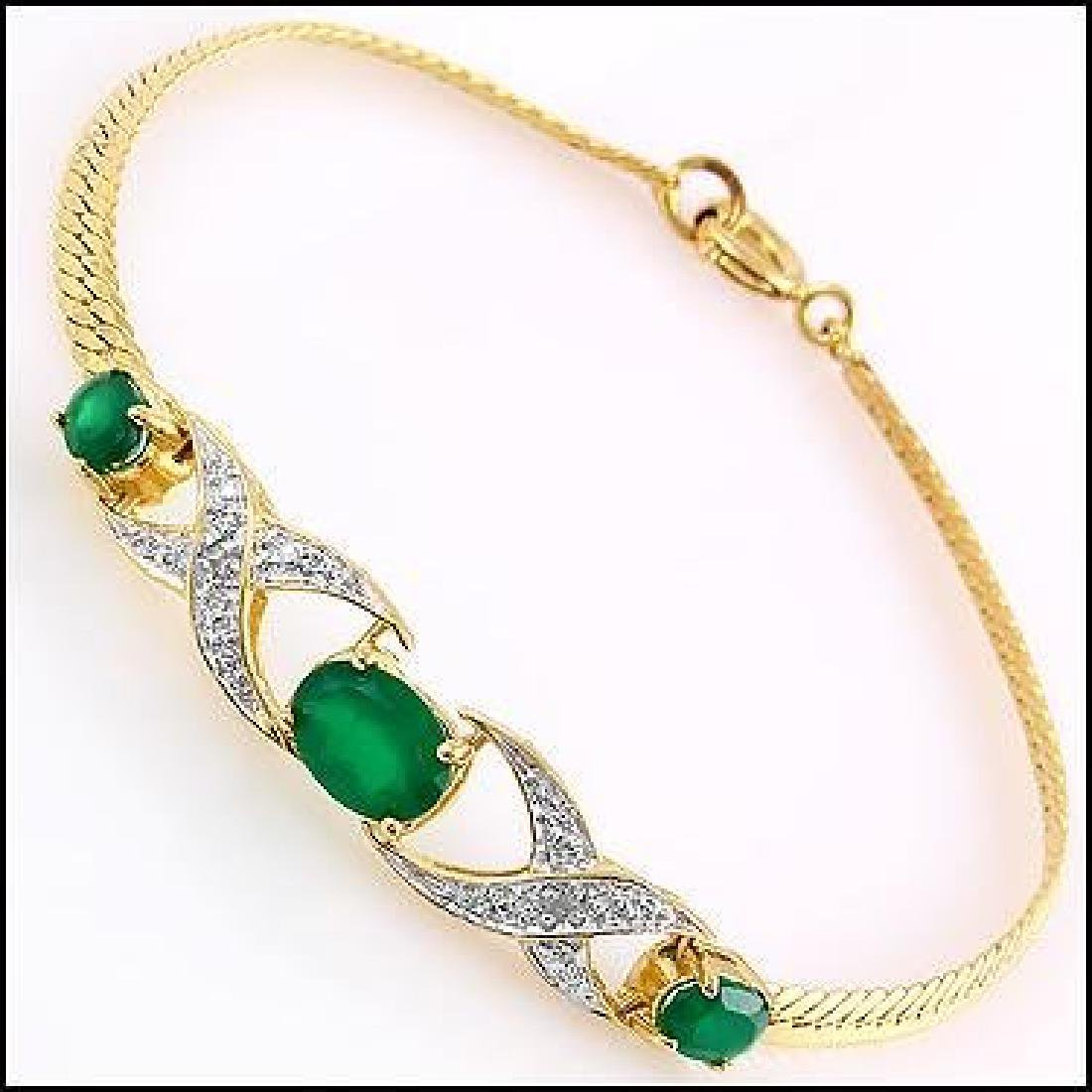 4.7 CT Green Agate Diamond Bracelet