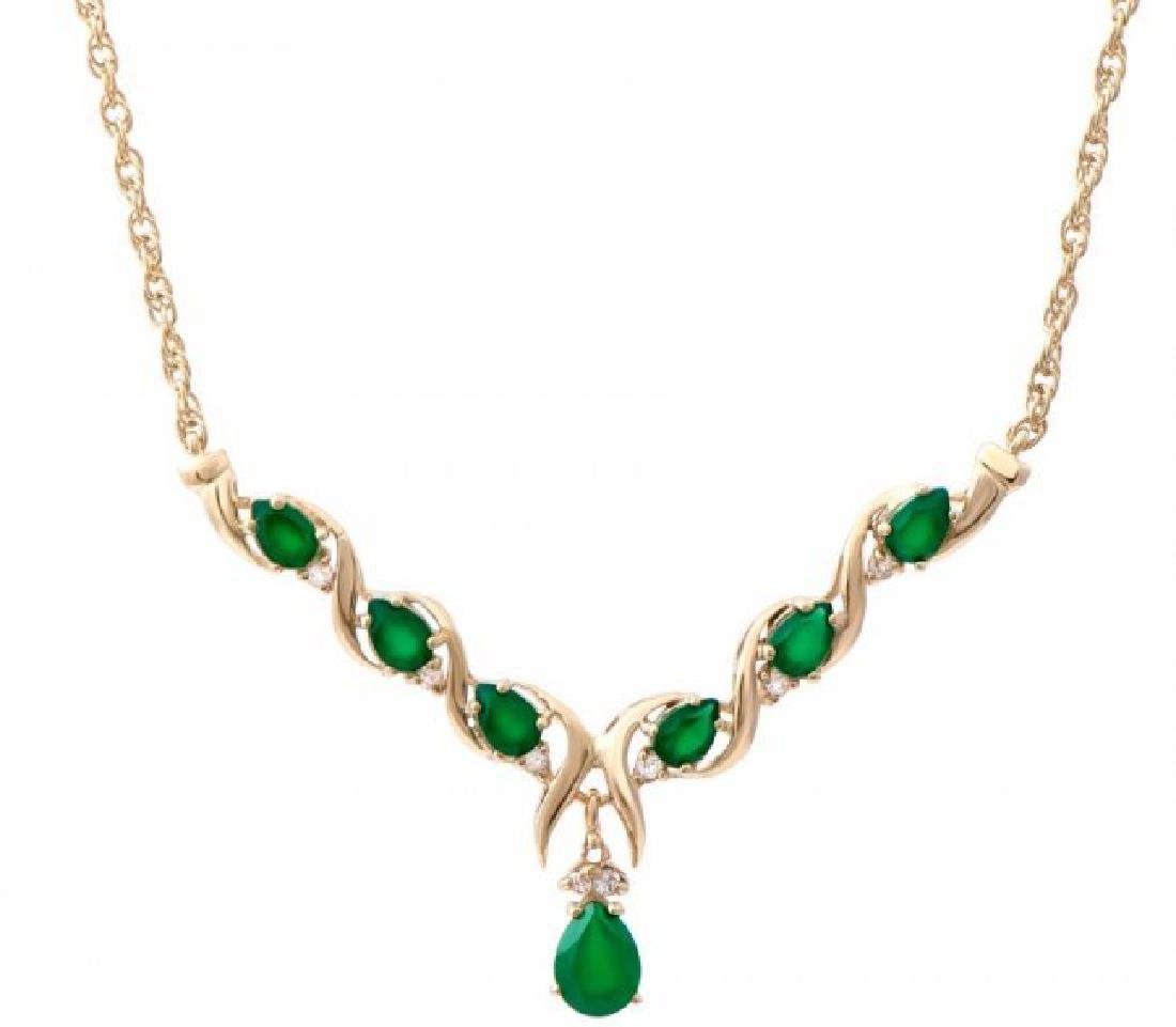 7.69 CT Green Agate & Diamond Designer Necklace $1385