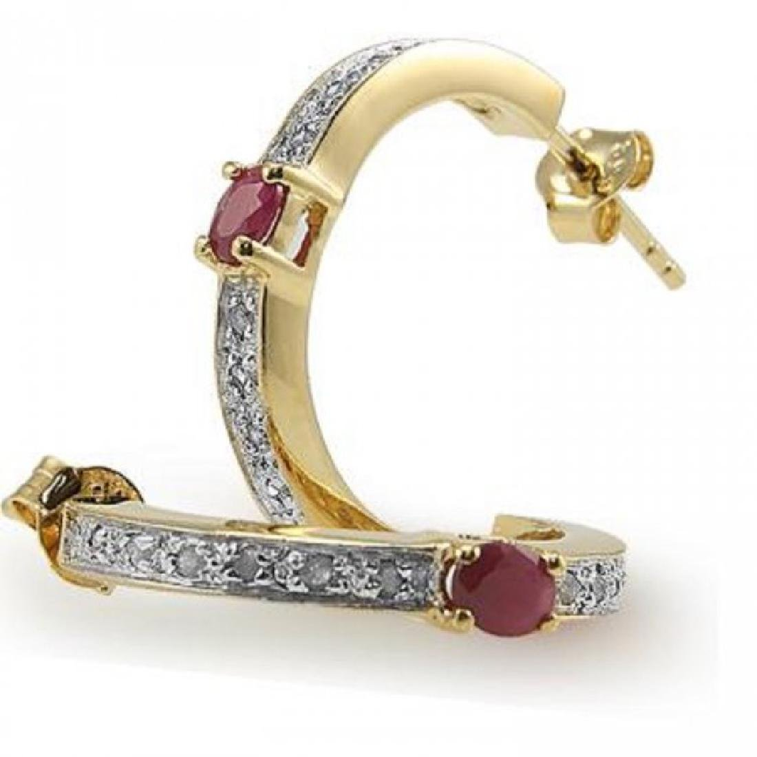 2.39 CTW Ruby & Diamond Designer Earrings
