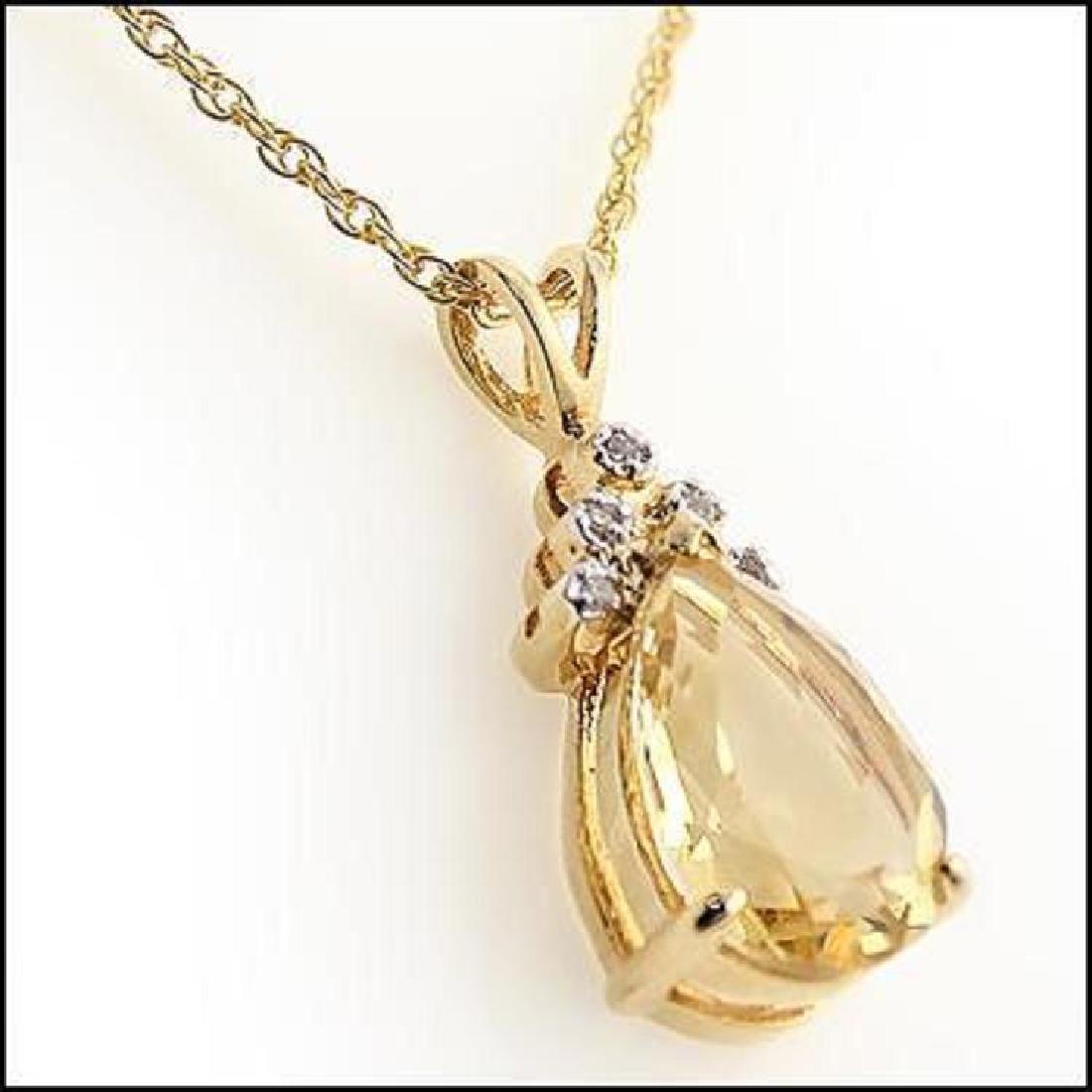 6 CT Citrine Diamond Pendant