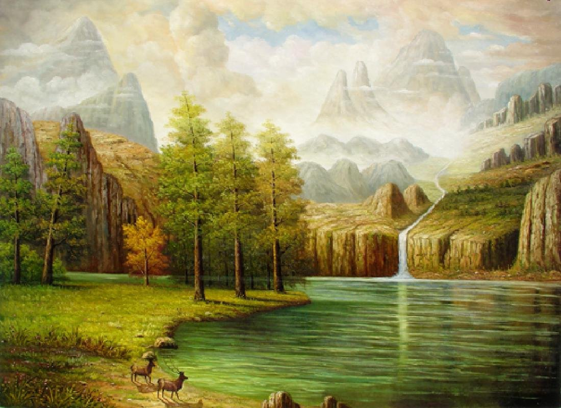 Huge Oil Painting on Canvas  - Deerhaven