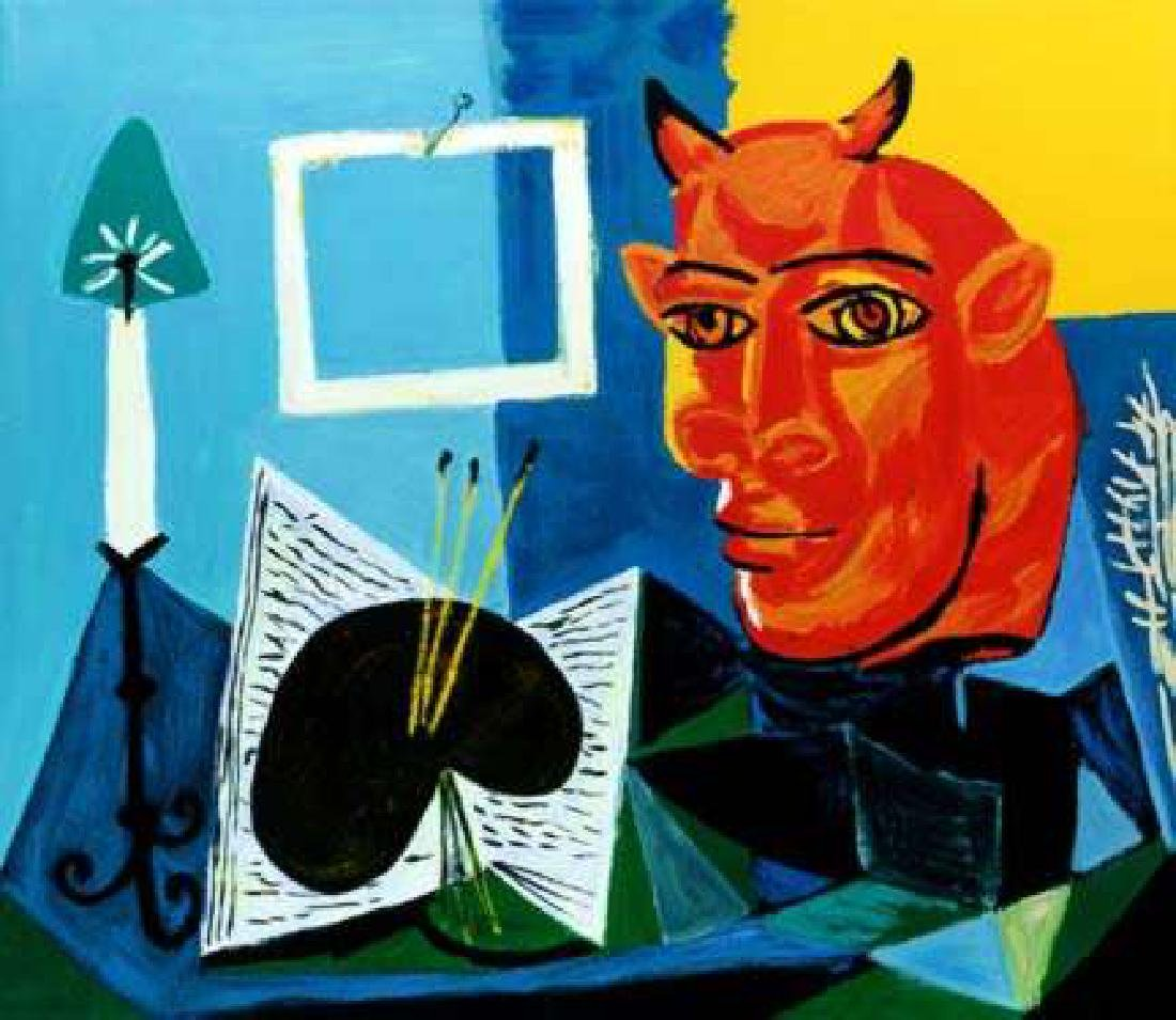 STILL LIFE WITH RED HEADED MINOTAUR Picasso Estate