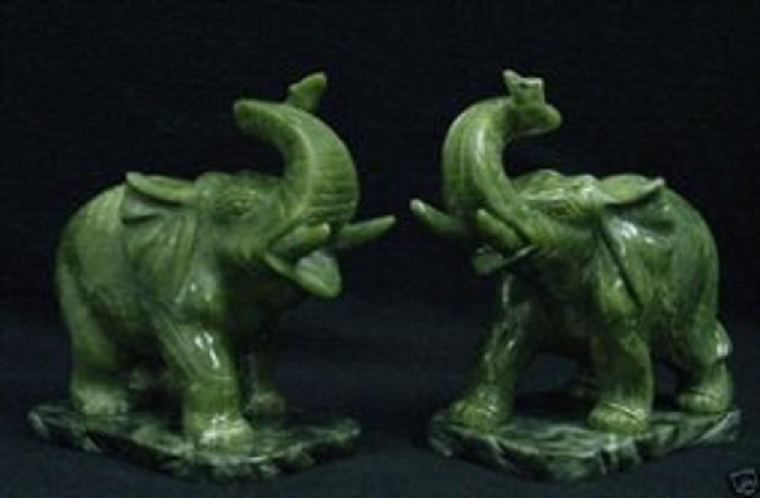 PAIR OF REAL JADE ELEPHANTS