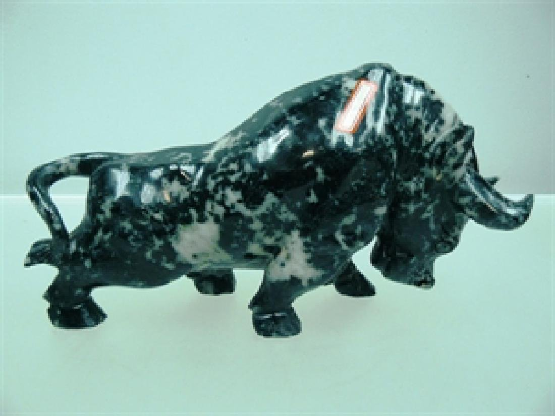 HAND CARVED BLACK JADE FIGHTING BULL