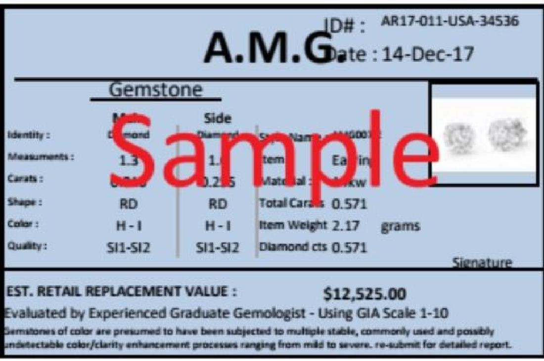 0.459 Cts Certified Diamond 14K Designer Gold Ring - 2