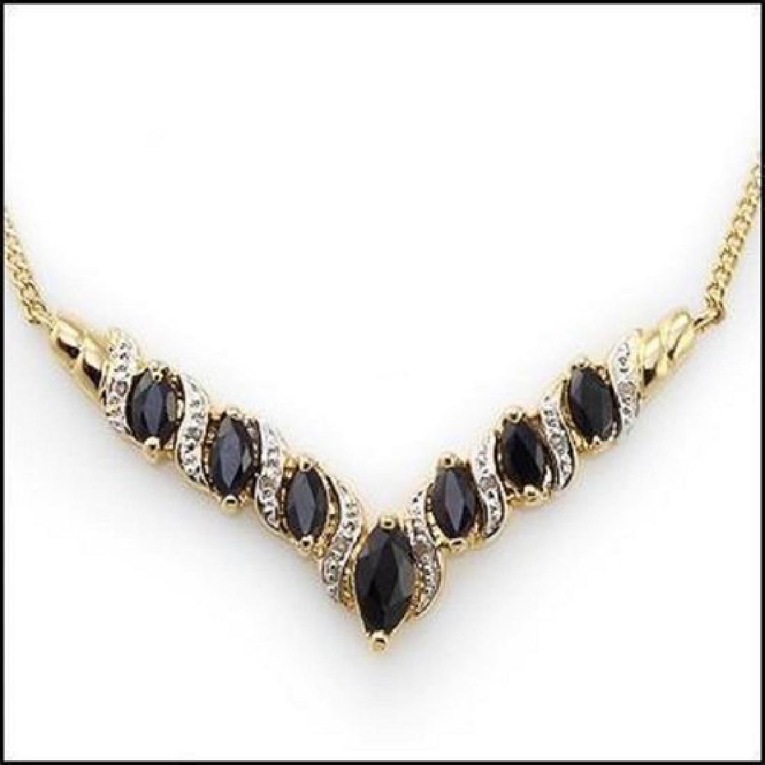 6.92 CT Sapphire & Diamond Designer Necklace MSRP $1120 - 2