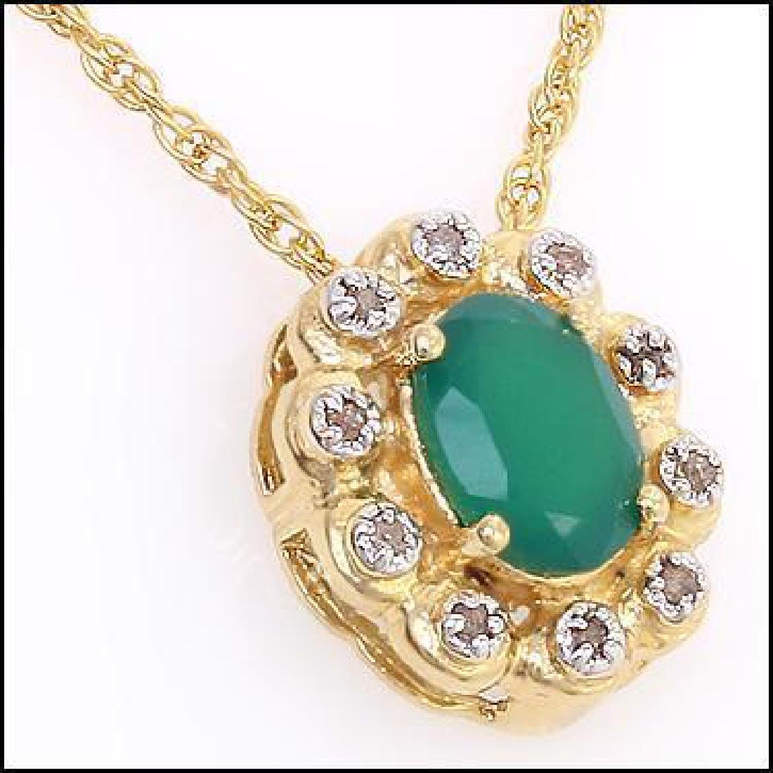 2 CT Green Agate Diamond Pendant Necklace