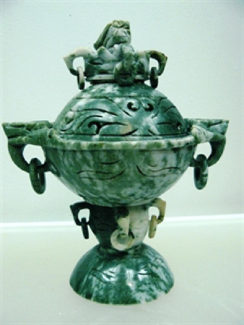 EXQUISITE JADE DRAGON HEAD URN / INCENSE BURNER