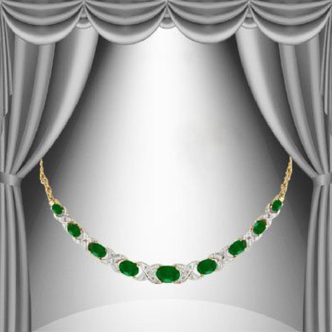 11 CT Green Agate Diamond Elegance Necklace
