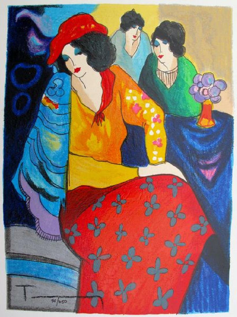 Itzchak Tarkay BLUE MOOD Hand Signed Ltd Ed. Serigraph