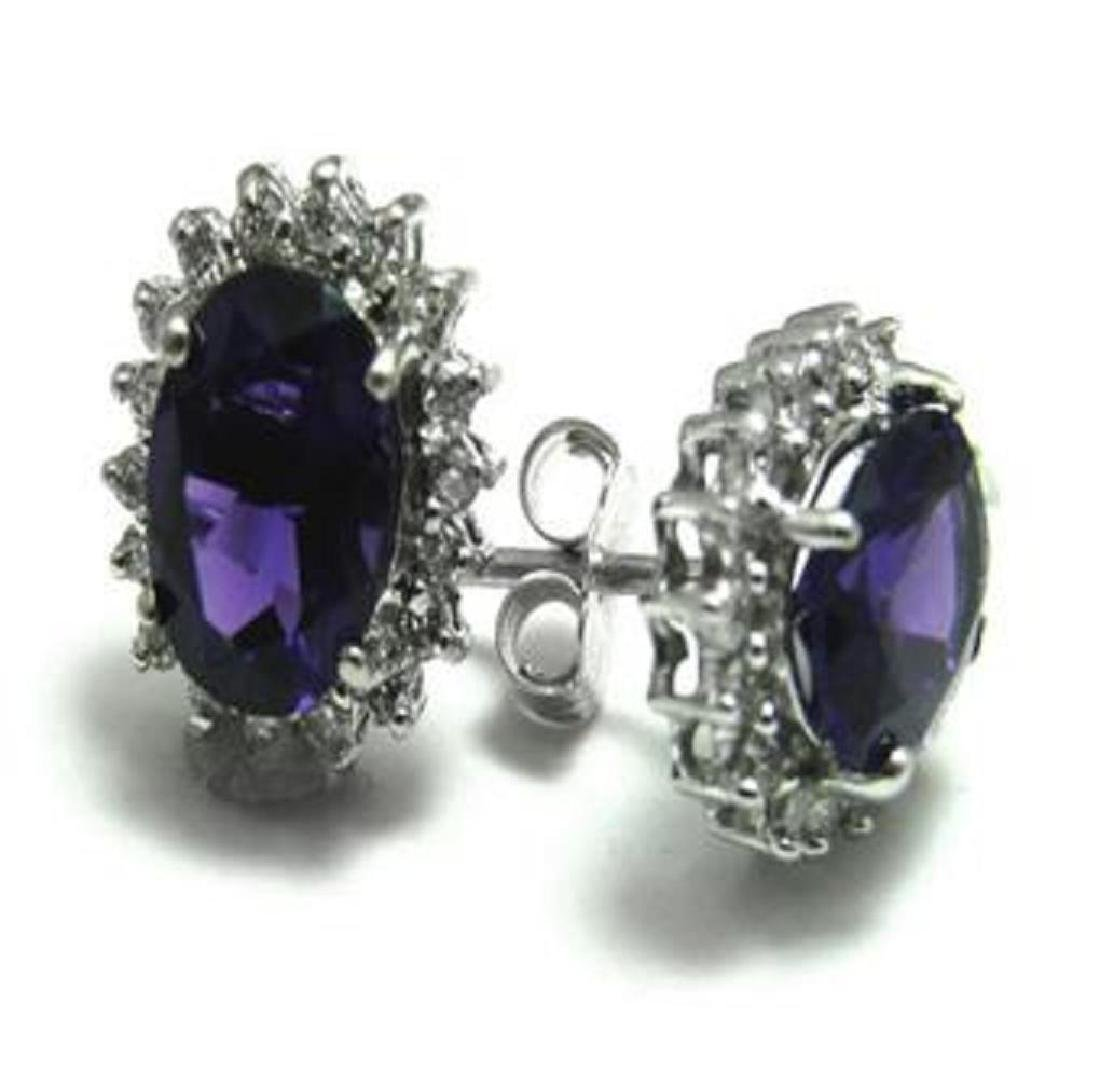2.25 CT Amethyst Diamond Earrings Appraised $2,880