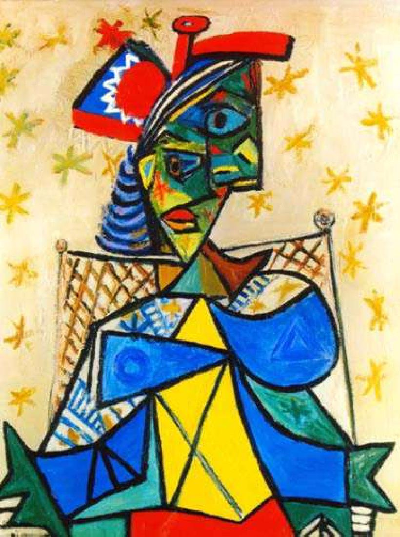 SEATED WOMAN WITH RED AND BLUE HAT Picasso Estate
