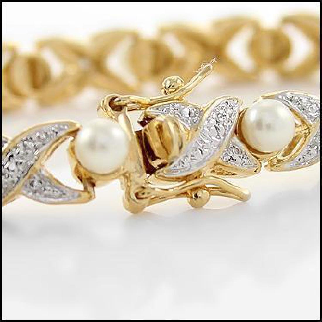 6mm Freshwater Pearl and Diamond Gold Bracelet - 2