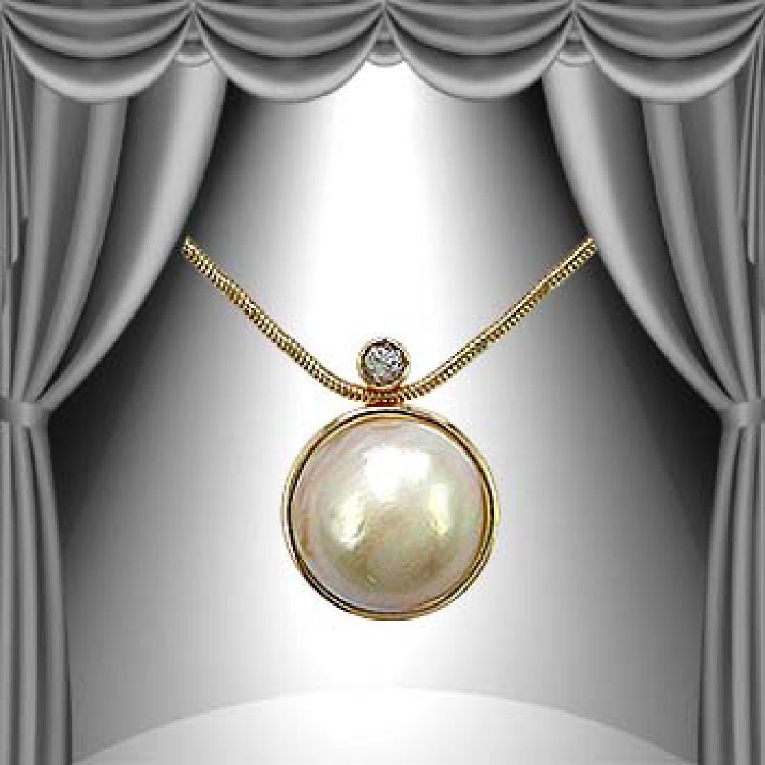 Genuine 10mm Pearl White Sapphire Necklace