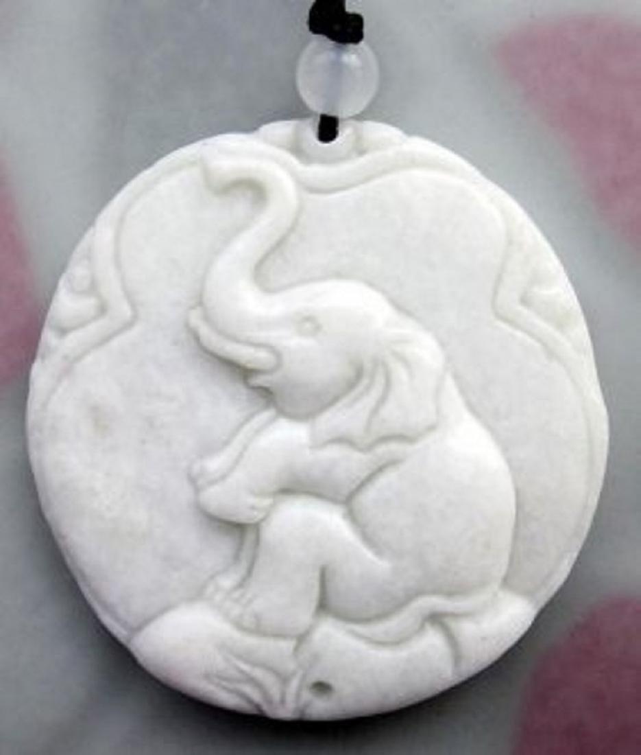 Chinese Jade Seated Elephant Pendant