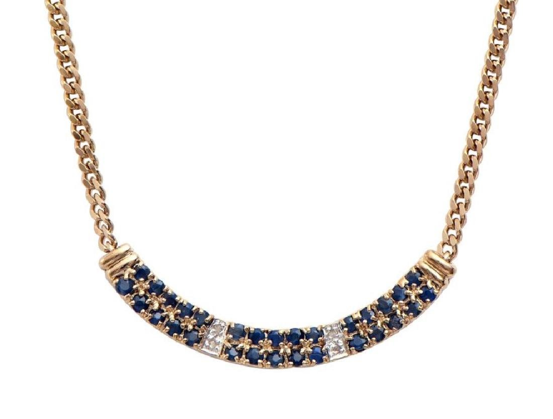 14.89 CT Sapphire & Diamond Designer Necklace MSRP