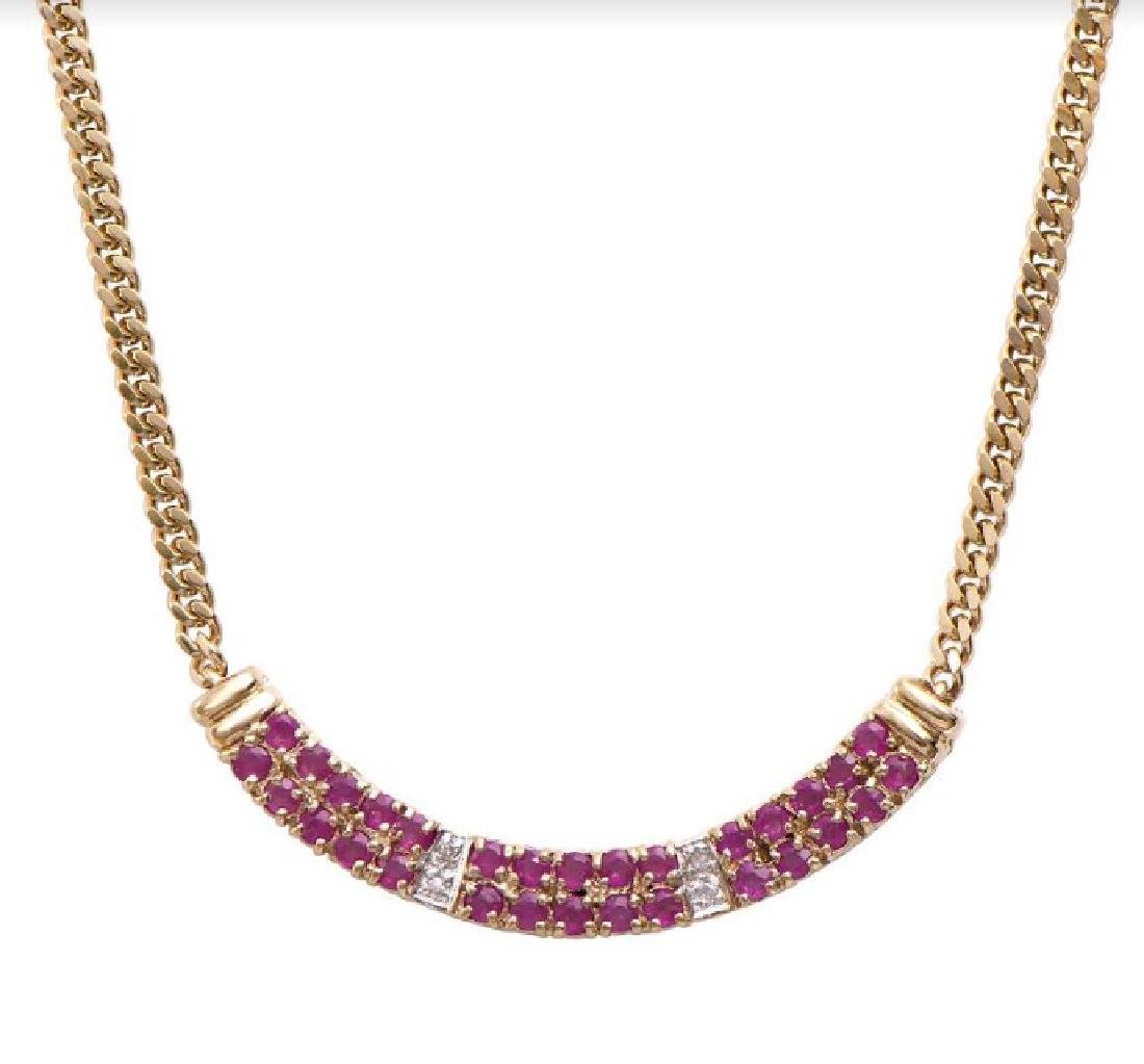 14.89 CT Ruby & Diamond Designer Necklace MSRP $1,465