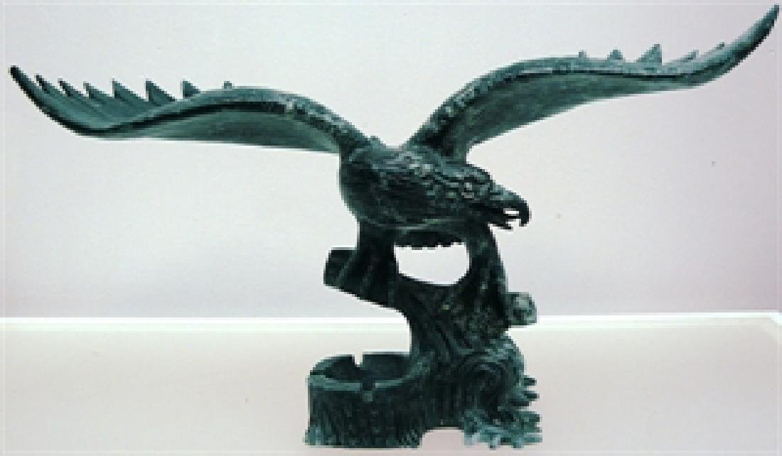 Hand Carved Large Black Jade Eagle
