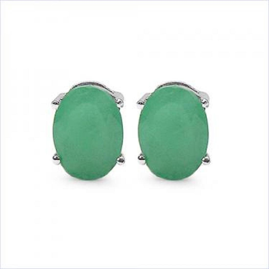 3 CT Green Agate Stud Earrings