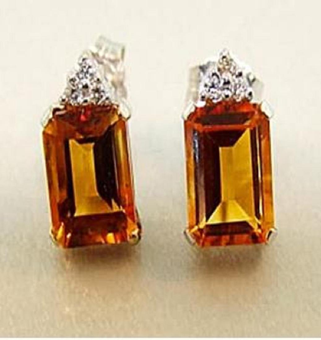 5.10 CT Citrine Diamond Earrings Appraised $3,700