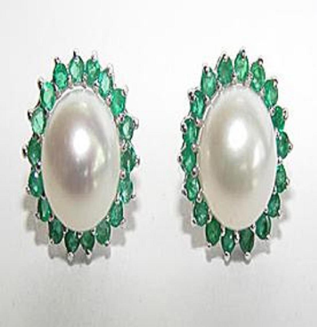 Cultured Pearl Emerald Earrings Appraised $4,750
