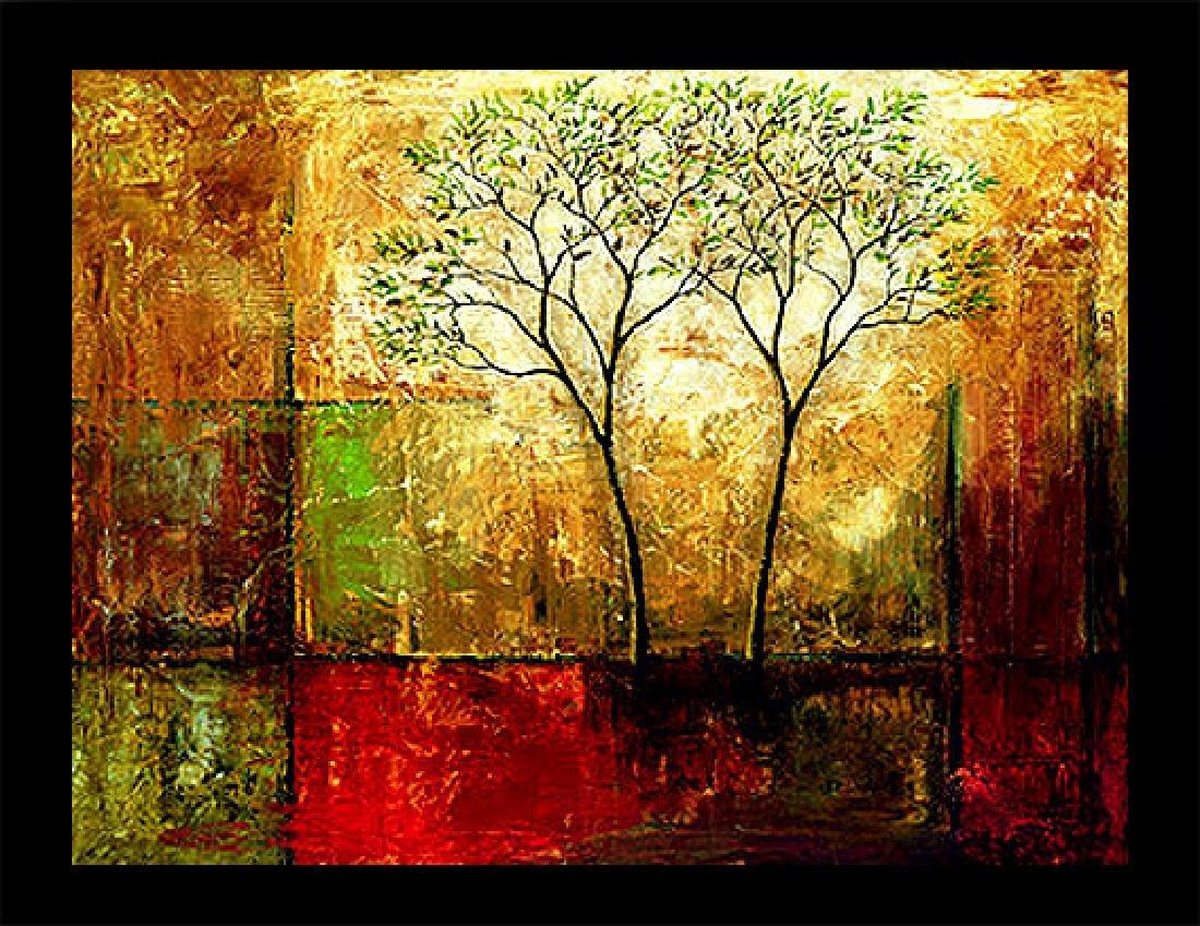 Framed Oil Painting, Leaves of Green