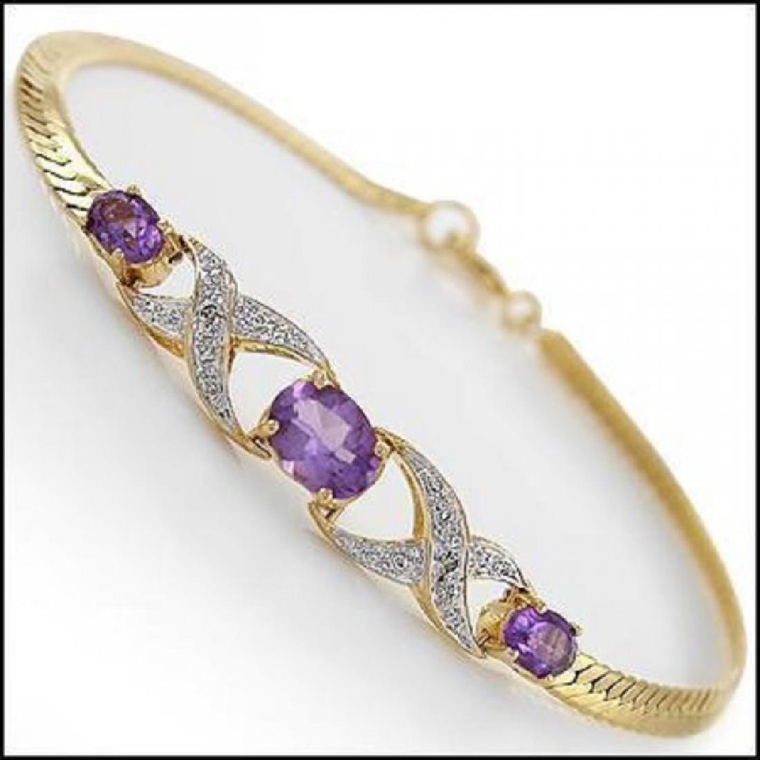 3.69 CT Amethyst & Diamond Designer Bracelet $965