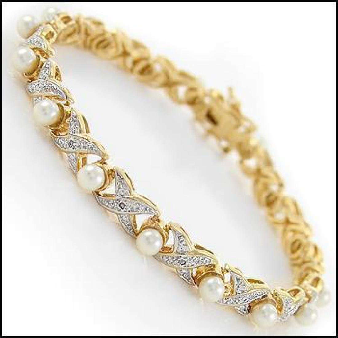 6mm Freshwater Pearl and Diamond Gold Bracelet