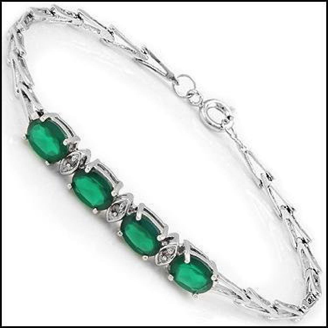 4.39 Ct Green Agate & Diamond Designer Bracelet