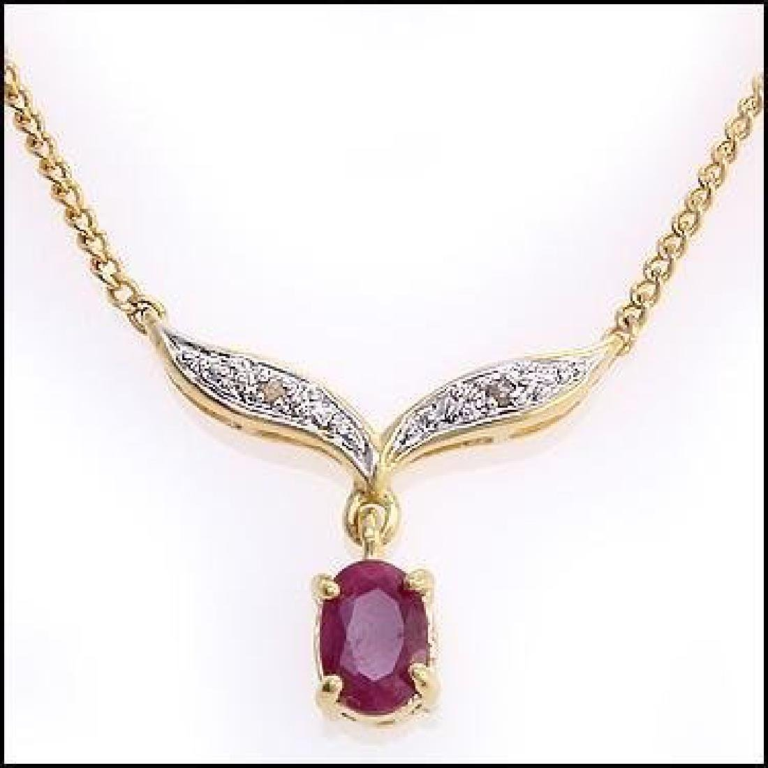 2.91 CT Ruby & Diamond Designer Necklace $855 - 2