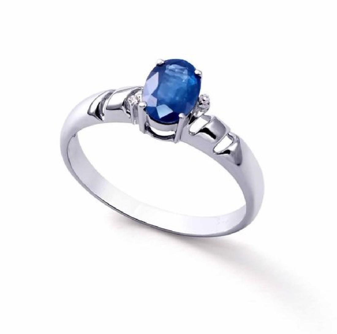 1.20 Cts Certified Blue Sapphire & Diamond Gold $4,421 - 2