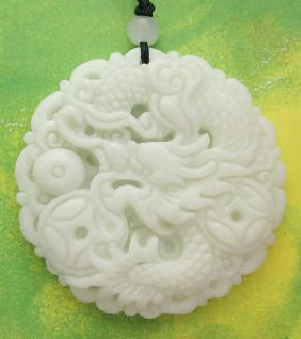 Chinese Jade Fortune Dragon Pearl Coins Amulet