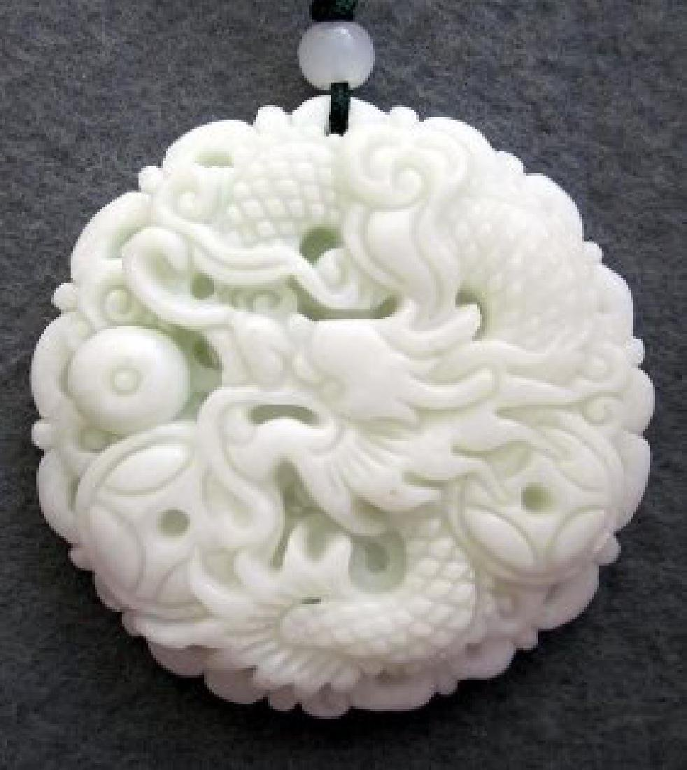 Chinese Jade Fortune Dragon Pearl Coins Amulet - 2