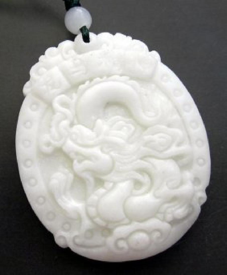 Chinese Jade Dragon Word LONG-MA-JING-SHEN Amulet - 2