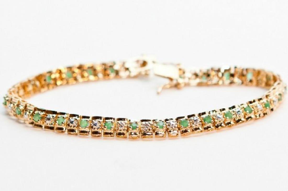 4.77 CTW Green Agate & Diamond Designer Bracelet