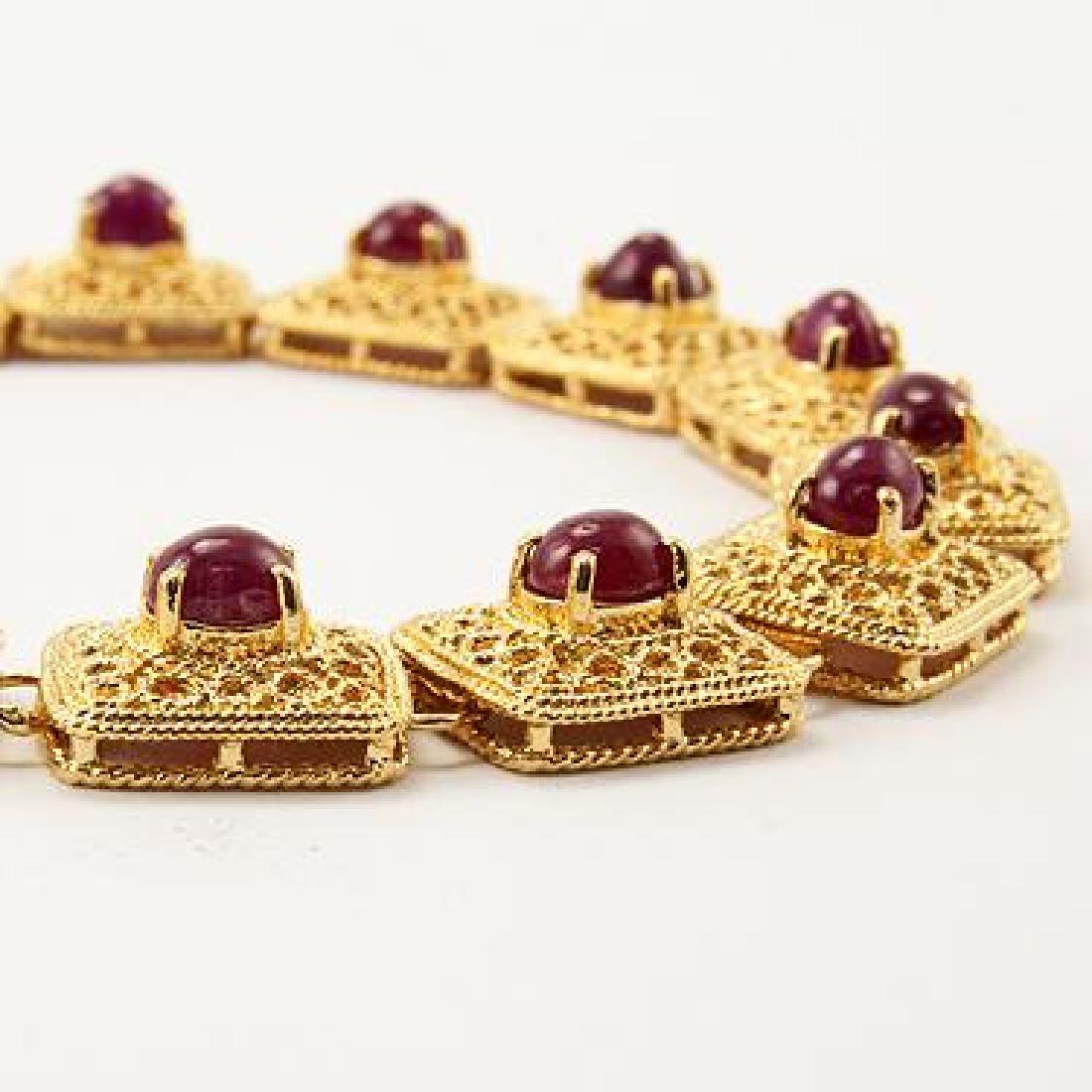 7 CT Cabochon Ruby Gold Bracelet - 2