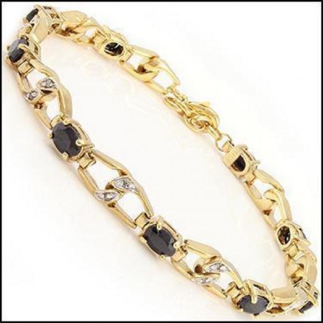 10.21CT Black Sapphire & Diamond Designer Bracelet