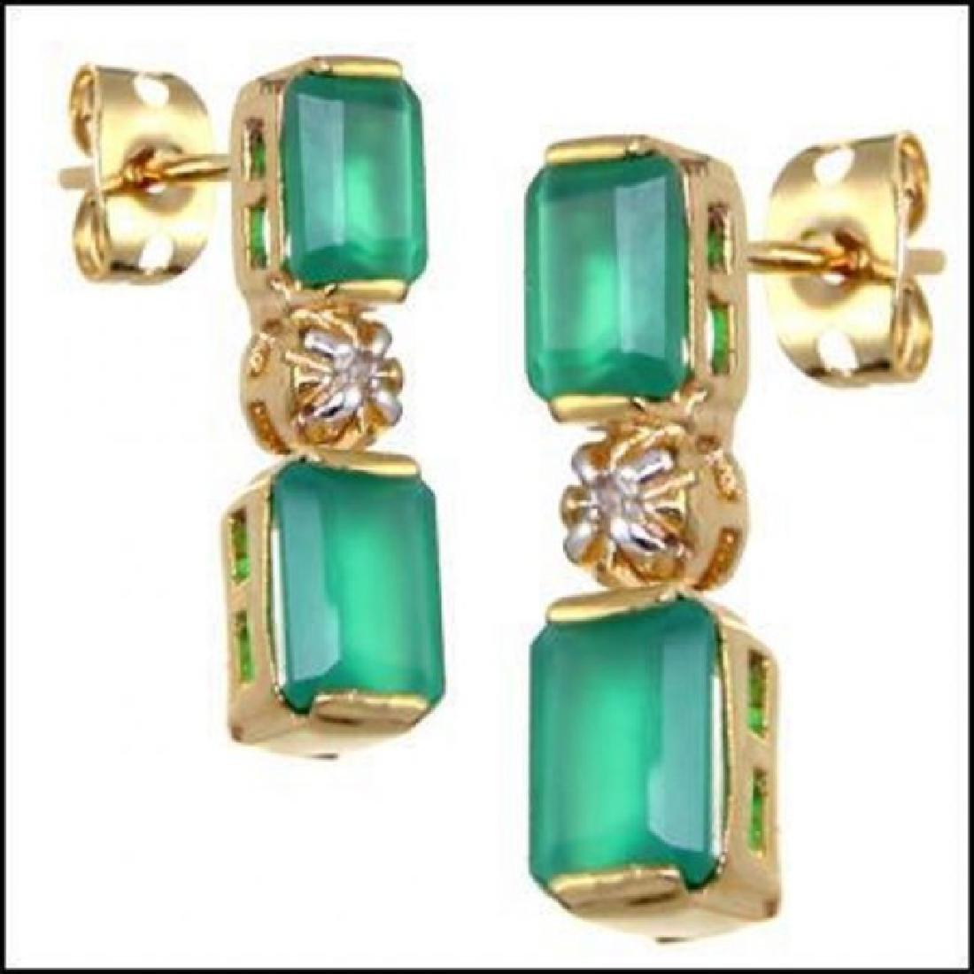 3.18 CTW Green Agate & Diamond Designer Earrings - 2