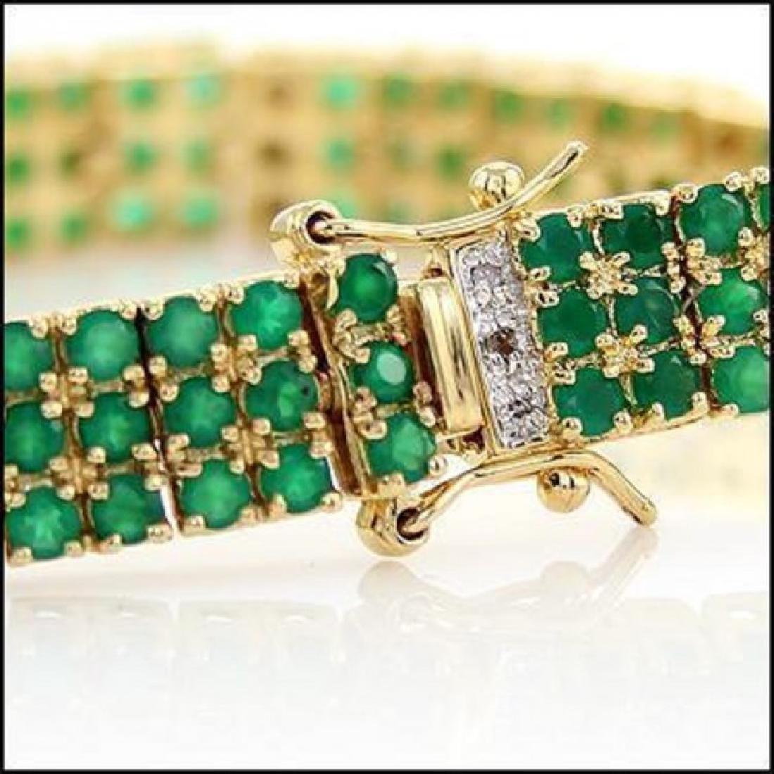 22.19 CT Green Agate & Diamond Designer Bracelet - 4