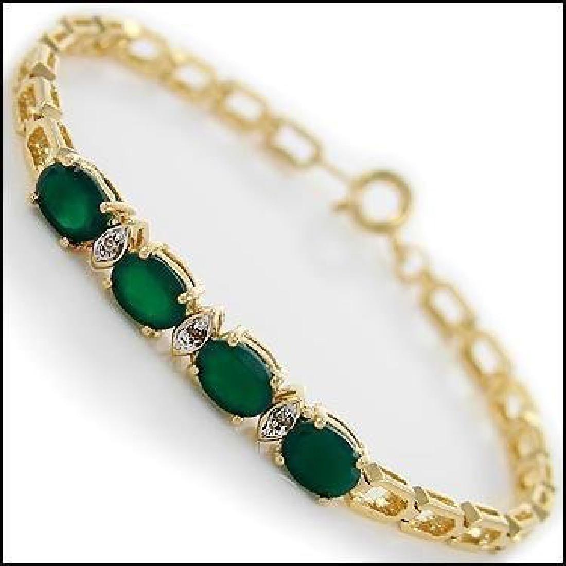 4.09 Ct Green Agate & Diamond Designer Bracelet