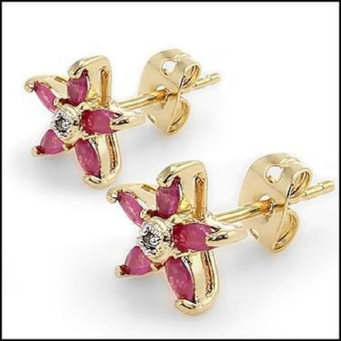 3.22 CT Ruby & Diamond Fine Designer Earrings $865 - 2
