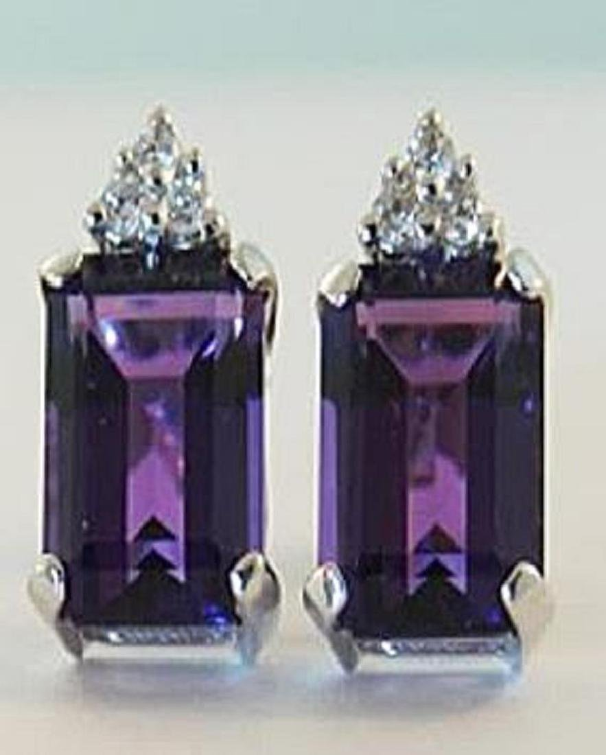 5.10 CT Amethyst Diamond Earrings Appraised $3,650
